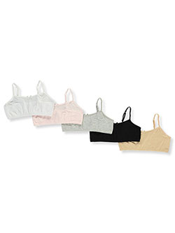 Girls' Adjustable 5-Pack Bralettes by Rene Rofe in Multi