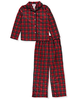 Pom Pom Plaid Flannel 2-Piece Pajamas by Rene Rofe in Red/multi