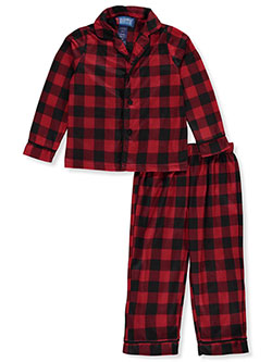 Boys' Plaid Flannel 2-Piece Pajamas by Boys Only in Red/multi