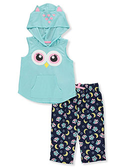 Rene Rofe Girls' Cat Hood 2-Piece Pajamas by Intimateco in Multi