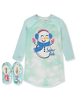 Snow Cute Nightgown & Slippers Set by Rene Rofe in Multi, Girls Fashion