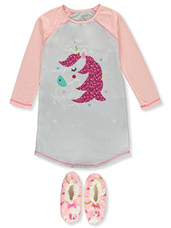 GIrls' Unicorn Nightgown with Slippers by Rene Rofe in Multi