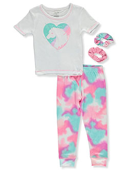 Girls 2-Piece Tie-Dye Unicorn Pajamas Set With 2-Pack Scrunchies by Rene Rofe in White/multi