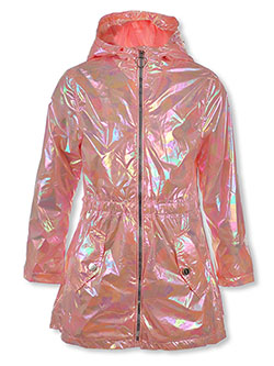 Iridescent Hooded Raincoat by Urban Republic in Iridescent, Girls Fashion
