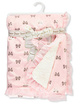 Glitter Bows Plush Blanket by Juicy Couture in Pink hearts