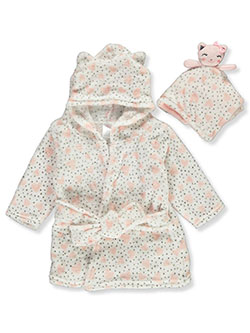 Plush Heart Bathrobe & Toy Set by Zak & Zoey in Pink/white