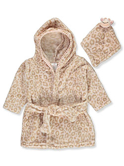 Plush Leopard Bathrobe & Toy Set by Zak & Zoey in Pink/multi