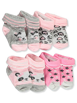 Stylish Cat & Panda 4-Pack Bootie Socks by Stylish Baby in Multi