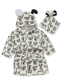 Baby Boys' Plush Pup Bathrobe & Toy Set by Zak & Zoey in Black/white