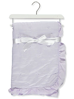 Swiss Dot Baby Comforter With Wooden Hanger by Stylish Baby in Purple/multi