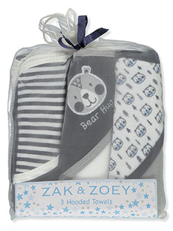 3-Pack Hooded Towels by Zak & Zoey in Assorted
