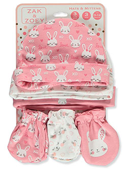 Bunnies 6-Piece Hats & Mittens Set by Zak & Zoey in Pink/multi - Cold Weather Accessories