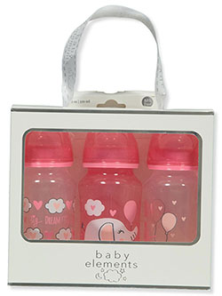 Baby Elements 3-Pack 11 oz. Baby Bottles by JCV Group in Pink