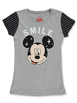 Mickey Mouse Girls' Smile T-Shirt by Disney in Gray