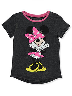 Minnie Mouse Girls' Bow Drop T-Shirt by Disney in Charcoal/fuchsia