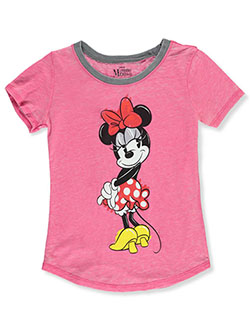 Minnie Mouse Glance Girls' T-Shirt by Disney in Fuchsia/gray