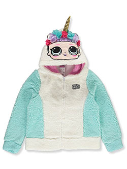 Girls' Unicorn Plush Zip Hoodie by LOL Surprise in Pearl, Girls Fashion