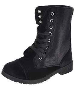Blue Suede Shoes Girls' Velvet Combat Boots (Toddler Sizes 11 – 12) - CookiesKids.com