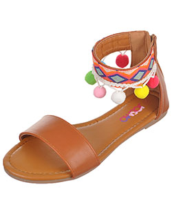 "Josmo Girls' ""Tribal Trim & Pom Poms"" Sandals (Youth Sizes 13 – 4) - CookiesKids.com"