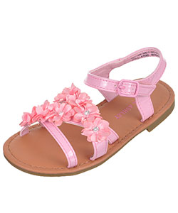 "Laura Ashley Girls' ""Rosette Row"" Sandals (Toddler Sizes 5 – 10) - CookiesKids.com"