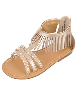 "Laura Ashley Girls' ""Fringe & Braid"" Sandals (Toddler Sizes 5 – 10) - CookiesKids.com"
