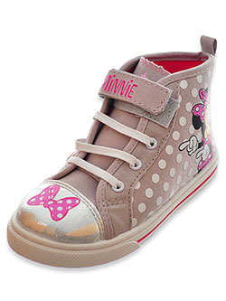 Minnie Mouse Girls' Hi-Top Sneakers by Disney in Gray/pink