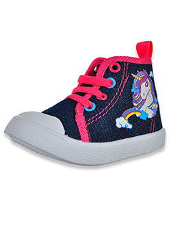 Unicorn Chambray Hi-Top Sneakers by Beverly Hills Polo Club in Denim, Infants