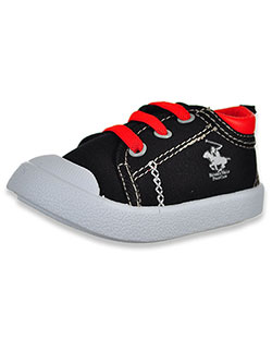 Trimmed Stitch Low-Top Sneakers by Beverly Hills Polo Club in Black/red, Infants
