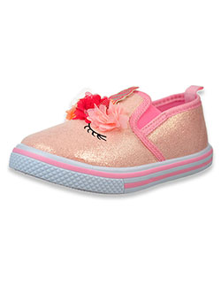 Girls' Unicorn Slip-On Sneakers by Laura Ashley in pink and silver - Sneakers