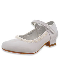 Girls' Patent Leather Flower Dress Shoes by Josmo in White