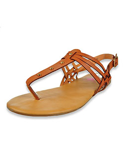Studded T-Strap Sandals by Beverly Hills Polo Club in tan and white