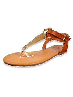 Girls' T-Strap Sandals by Beverly Hills Polo Club in tan and white