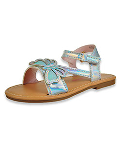 Iridescent Butterfly Flat Strap Sandals by Laura Ashley in Silver