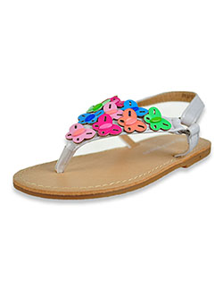 Patent Leather Butterflies T-Strap Flat Sandals by Laura Ashley in White/multi, Shoes