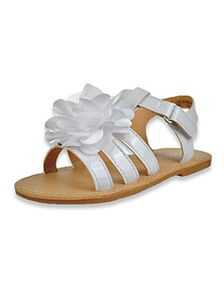 Patent Leather Flat Strap Sandals by Laura Ashley in White/multi, Shoes