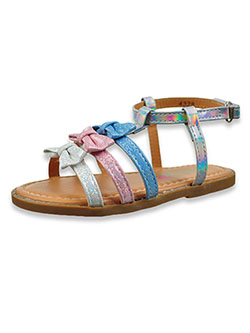 Girls' Glitter Band Strap Sandals by Petalia in Silver/multi, Shoes