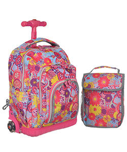 "J World ""Poppy Fields"" Rolling Mini Backpack with Lunch Box - CookiesKids.com"