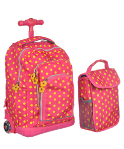 "J World ""Sunnyside"" Mini Rolling Backpack with Insulated Lunch Box - CookiesKids.com"