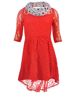 "Bloome Big Girls' ""Rose Lace"" Dress with Scarf (Sizes 7 – 16) - CookiesKids.com"