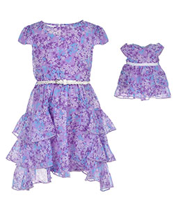 "Dollie & Me Little Girls' ""Hyacinth"" Dress with Doll Outfit (Sizes 4 – 6X) - CookiesKids.com"