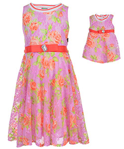"Dollie & Me Big Girls' ""Floral Lane"" Dress with Doll Outfit (Sizes 7 – 16) - CookiesKids.com"