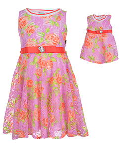 "Dollie & Me Little Girls' ""Floral Lane"" Dress with Doll Outfit (Sizes 4 – 6X) - CookiesKids.com"