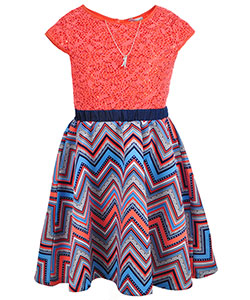 Emily West Big Girls' Dress with Necklace (Sizes 7 – 16) - CookiesKids.com