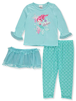 Girls' Mermaid 3-Piece Pajamas by Youngland in Multi