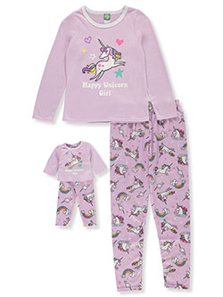 Happy Unicorn 2-Piece Pajamas with Doll Pajamas by Dollie and Me in Multi, Girls Fashion