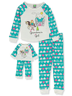 Grandma's Girl 2-Piece Pajamas with Doll Pajamas by Dollie and Me in Multi
