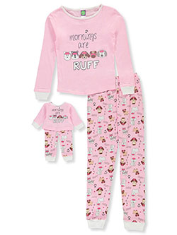 Ruff 2-Piece Pajamas with Doll Pajamas by Dollie and Me in Multi