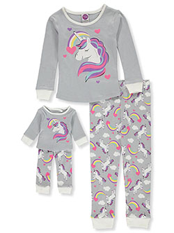 Unicorn Rainbow 2-Piece Pajamas with Doll Pajamas by Dollie and Me in Multi