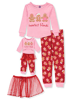 Sweetest Friends 3-Piece Pajamas with Doll Pajamas by Dollie and Me in Multi