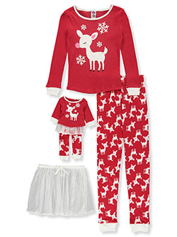 Reindeer 3-Piece Pajamas with Doll Pajamas by Dollie and Me in Multi
